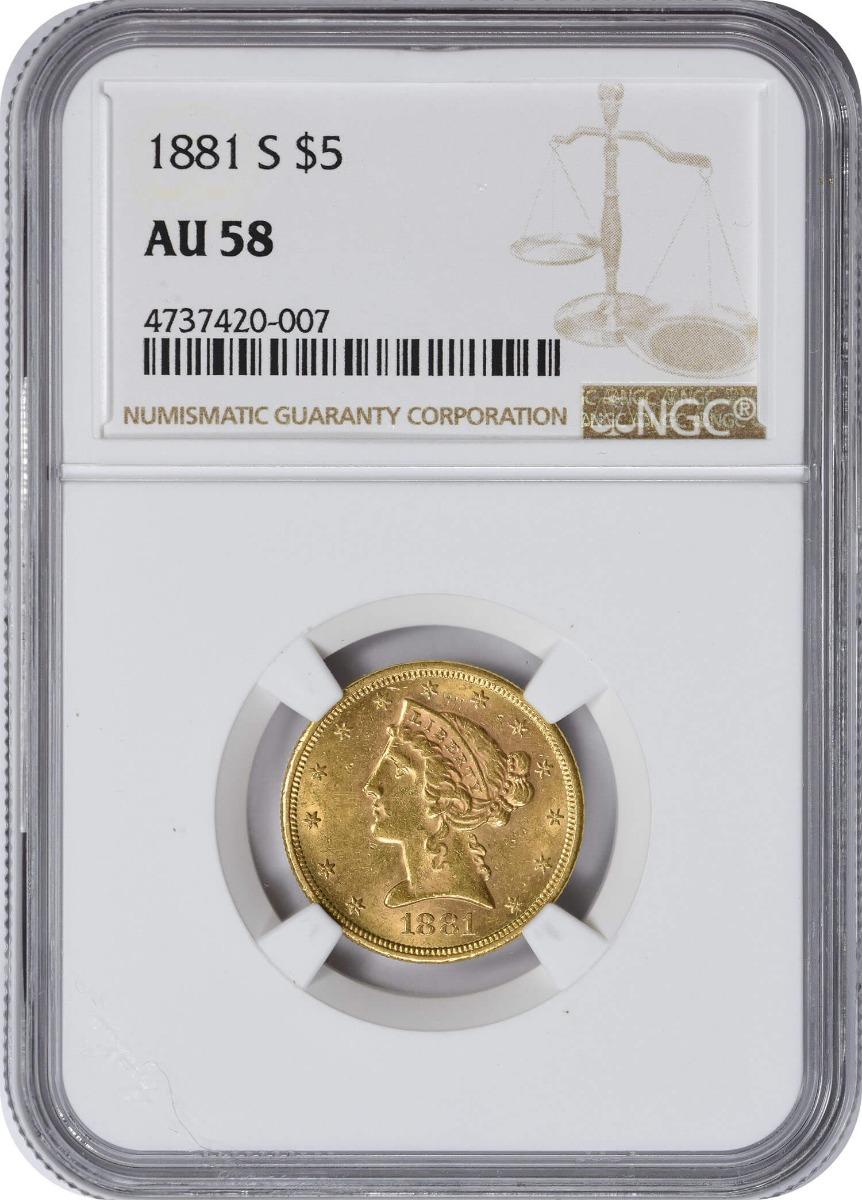 1881-S $5 Gold, AU58, NGC, Liberty
