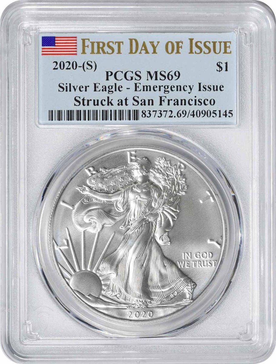 2020-(S) $1 American Silver Eagle Emergency Issue MS69 First Day of Issue PCGS