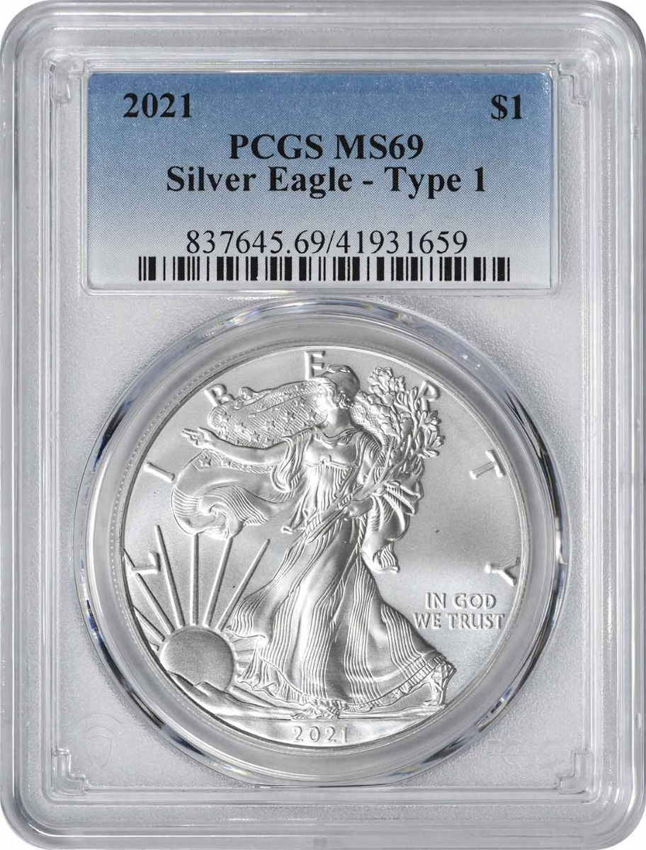 2021 $1 American Silver Eagle Type 1 MS69 PCGS