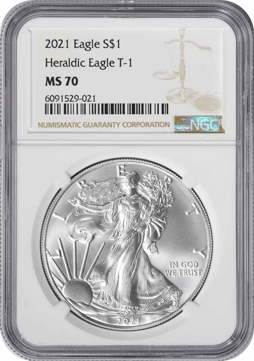 2021 $1 American Silver Eagle Type 1 MS70 NGC