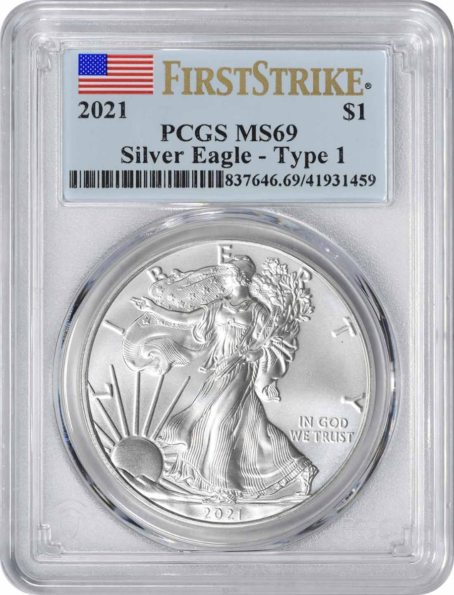 2021 $1 American Silver Eagle Type 1 MS69 First Strike PCGS
