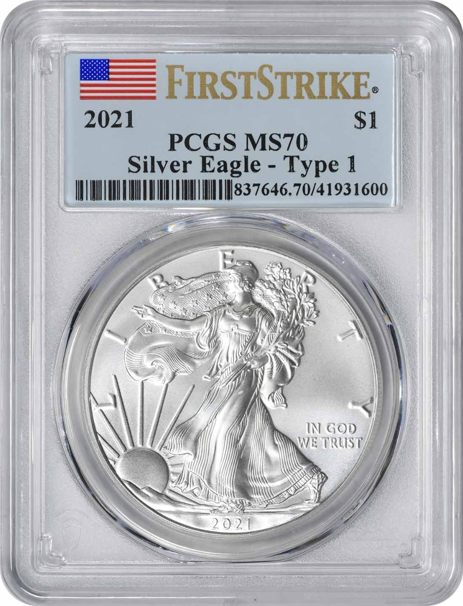 2021 $1 American Silver Eagle Type 1 MS70 First Strike PCGS