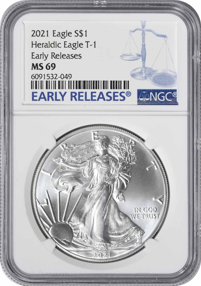 2021 $1 American Silver Eagle Type 1 MS69 Early Releases NGC