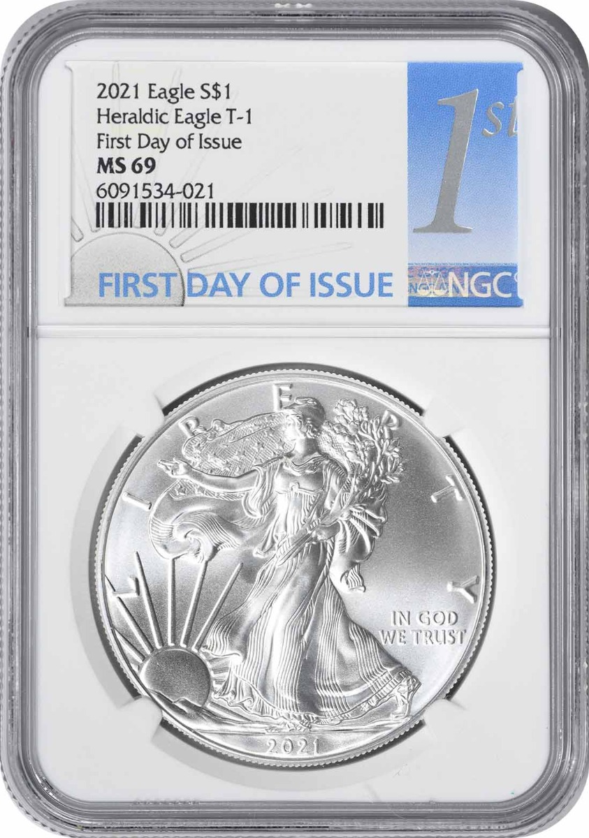 2021 $1 American Silver Eagle Type 1 MS69 First Day of Issue NGC