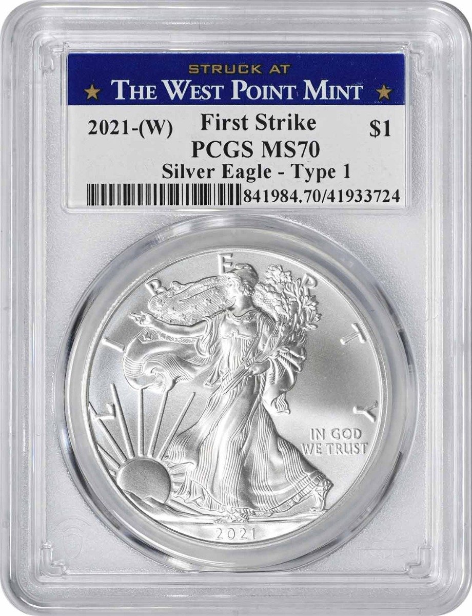 2021-(W) $1 American Silver Eagle Type 1 MS70 First Strike PCGS (Struck at West Point Label)