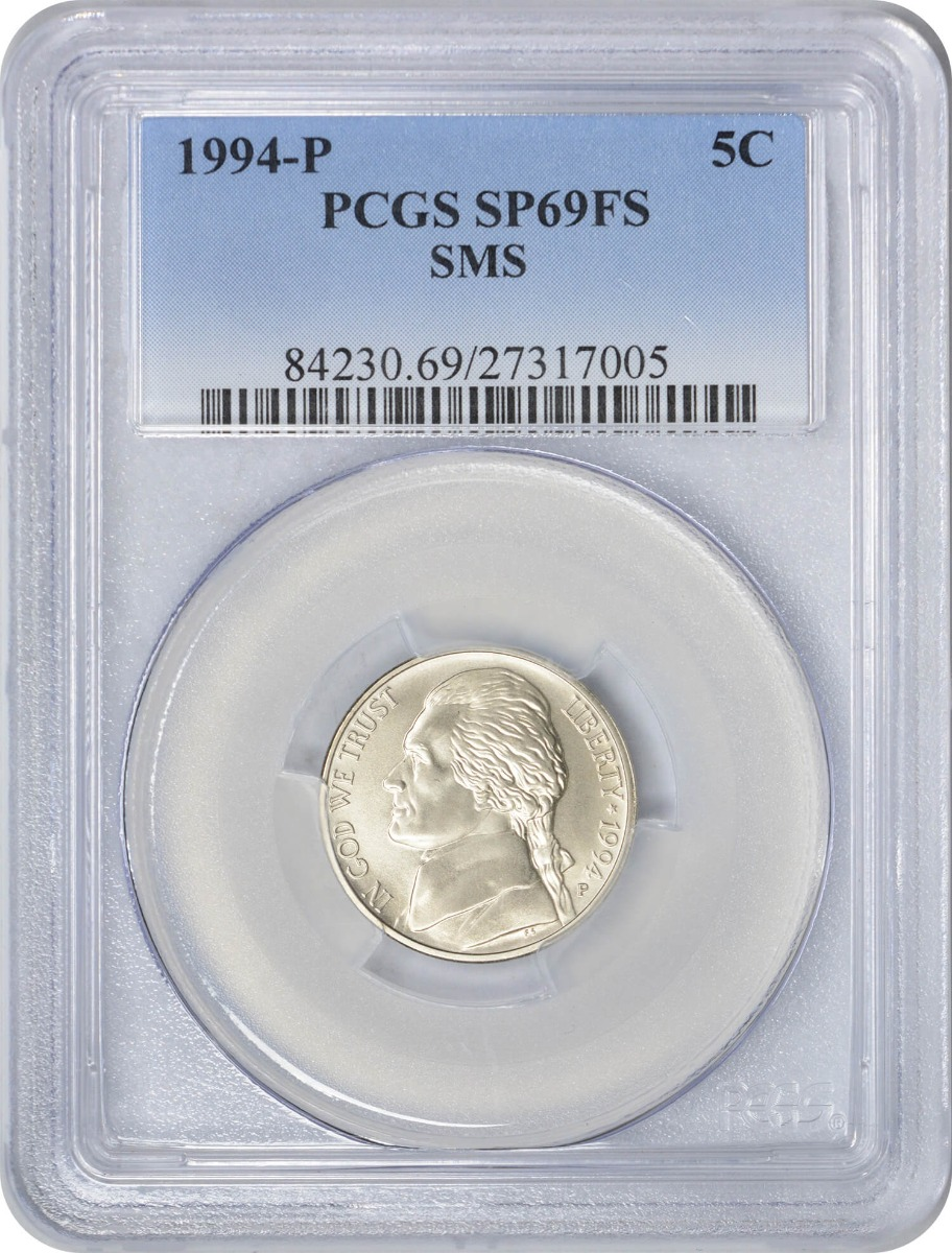 1994-P Jefferson Nickel, SMS SP69FS, PCGS