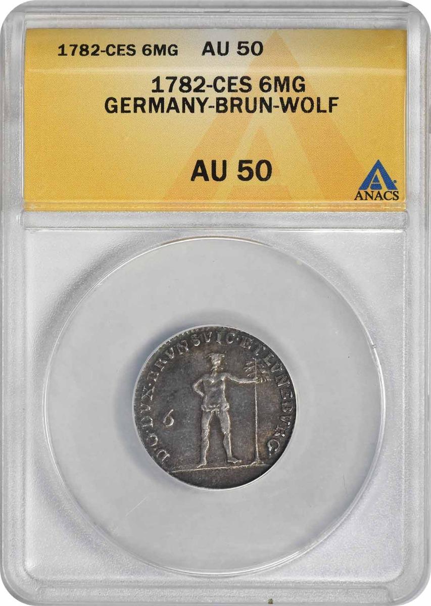 1782 Germany Brunswick-Wolfenbuttel 6 Mariengroschen KM 1008 AU50 ANACS