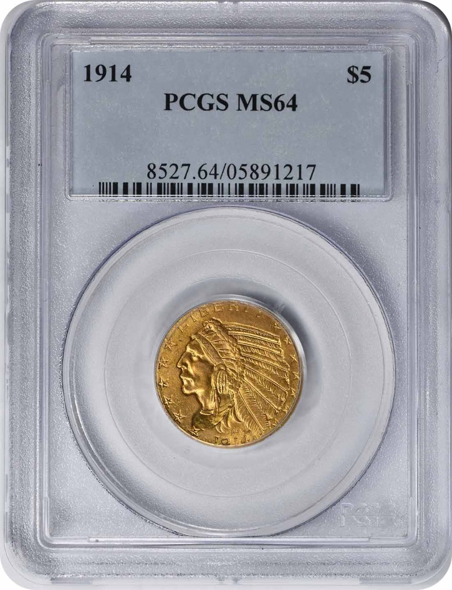 1914 $5 Gold MS64 PCGS Indian