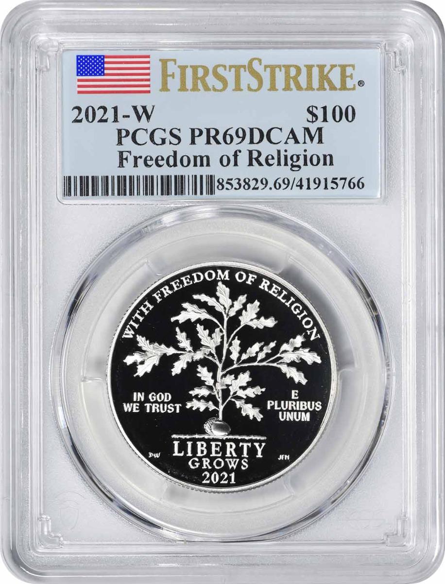 2021-W $100 American Platinum Eagle Freedom of Religion PR69DCAM First Strike PCGS
