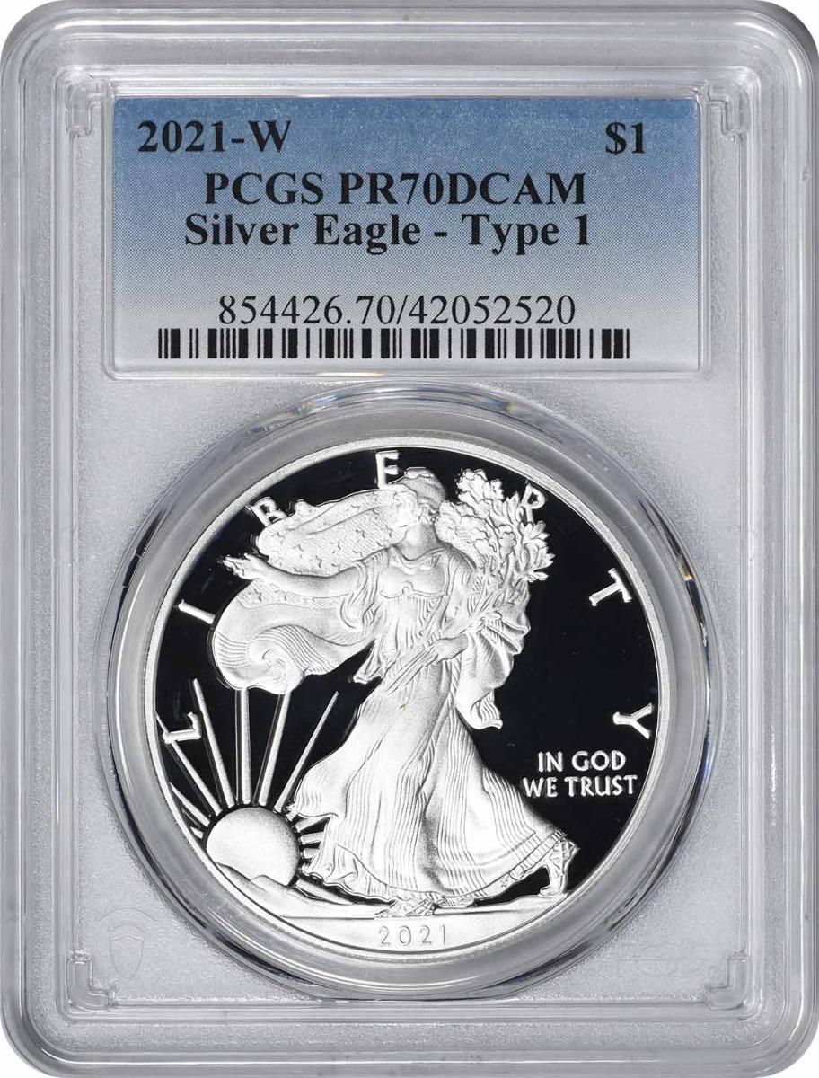 2021-W $1 American Silver Eagle Type 1 PR70DCAM PCGS