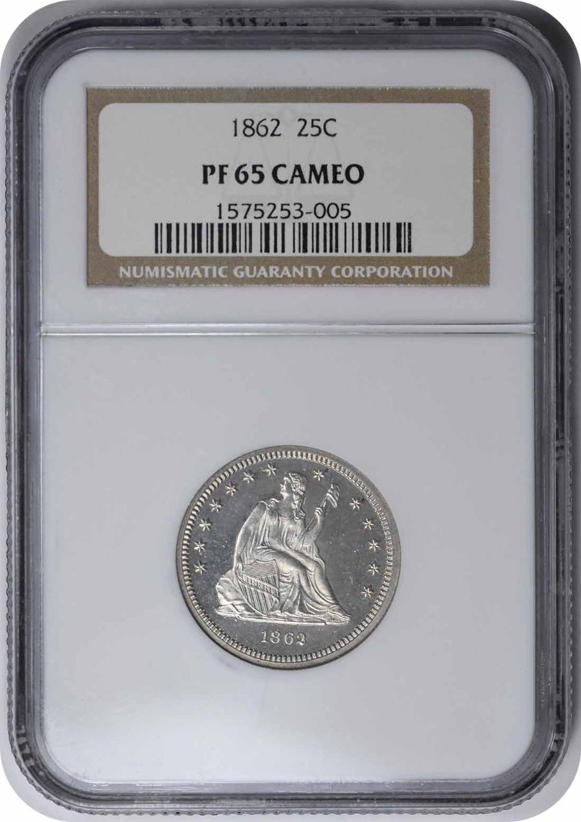 1862 Liberty Seated Silver Quarter PR65CAM NGC