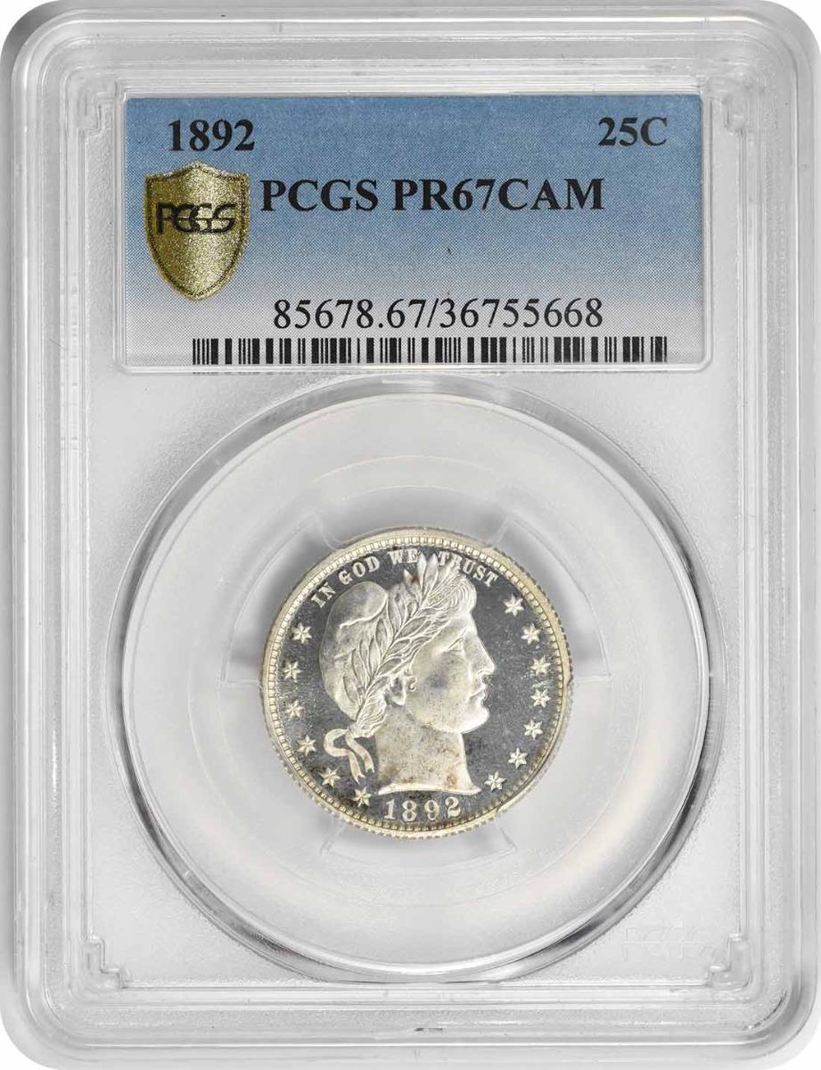 1892 Barber Silver Quarter PR67CAM PCGS