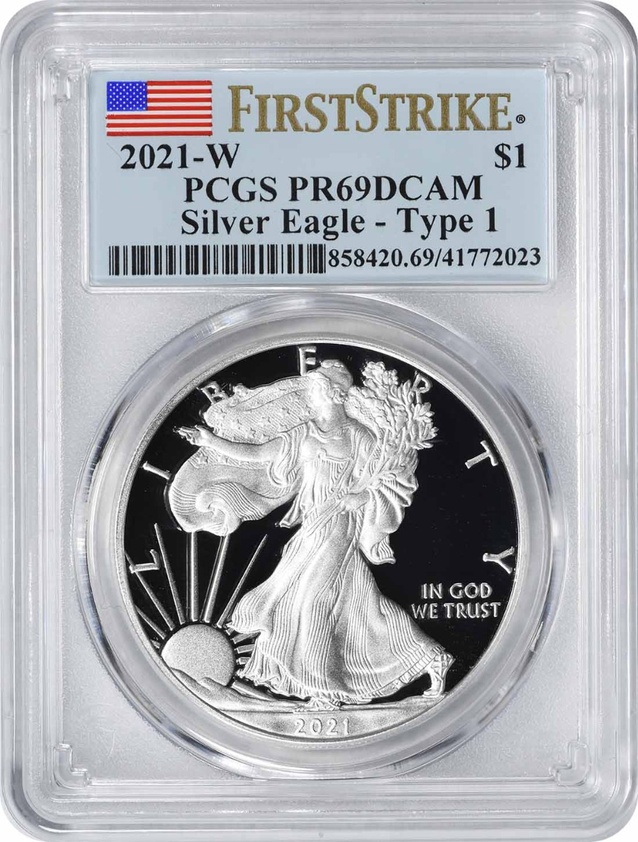 2021-W $1 American Silver Eagle Type 1 PR69DCAM First Strike PCGS