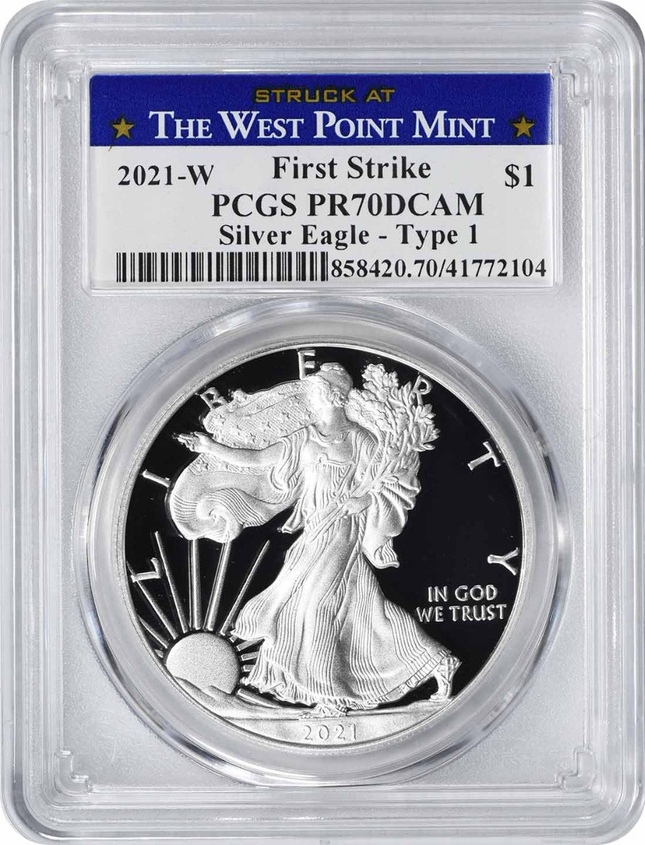 2021-W $1 American Silver Eagle Type 1 PR70DCAM First Strike PCGS (Struck at West Point Label)