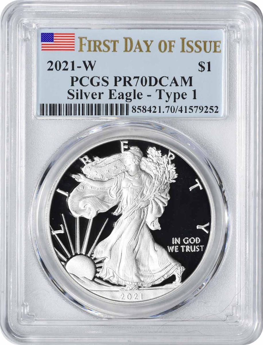 2021-W $1 American Silver Eagle Type 1 PR70DCAM First Day of Issue PCGS