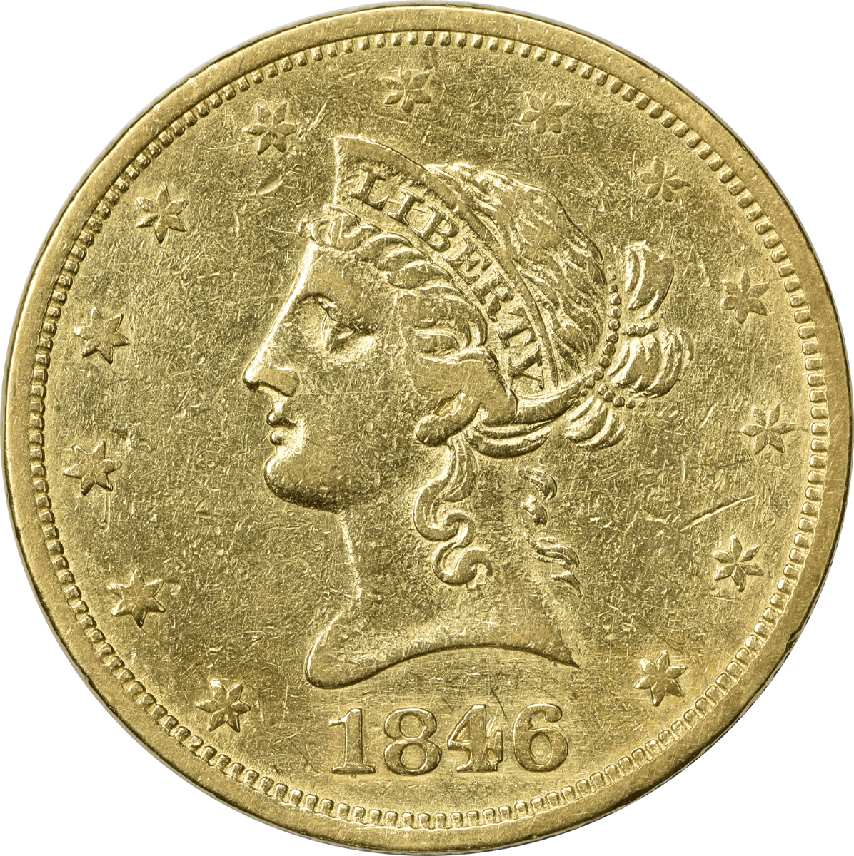 1846-O $10 Gold Liberty Head EF Uncertified