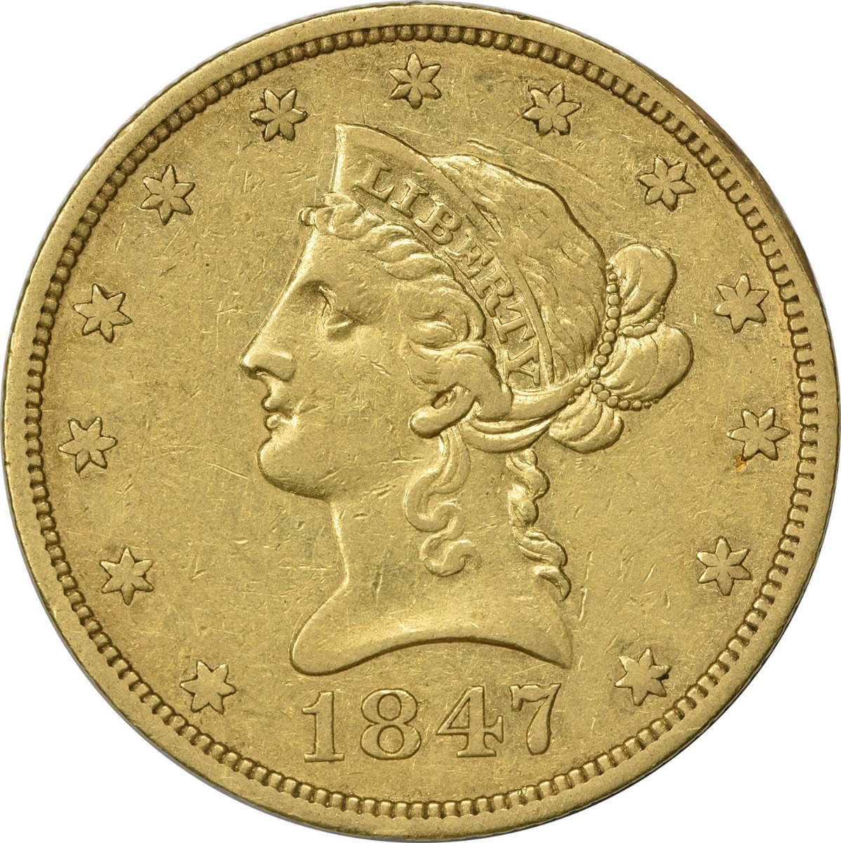 1847 $10 Gold Liberty Head EF Uncertified