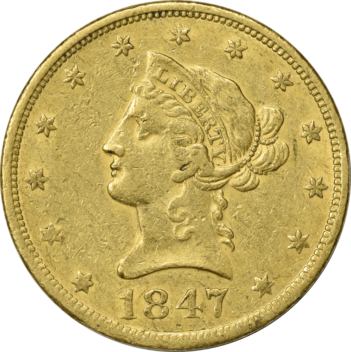 1847-O $10 Gold Liberty Head EF Uncertified