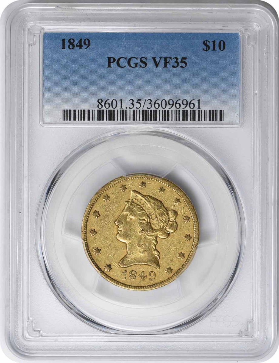 1849 $10 Gold Liberty Head VF35 PCGS
