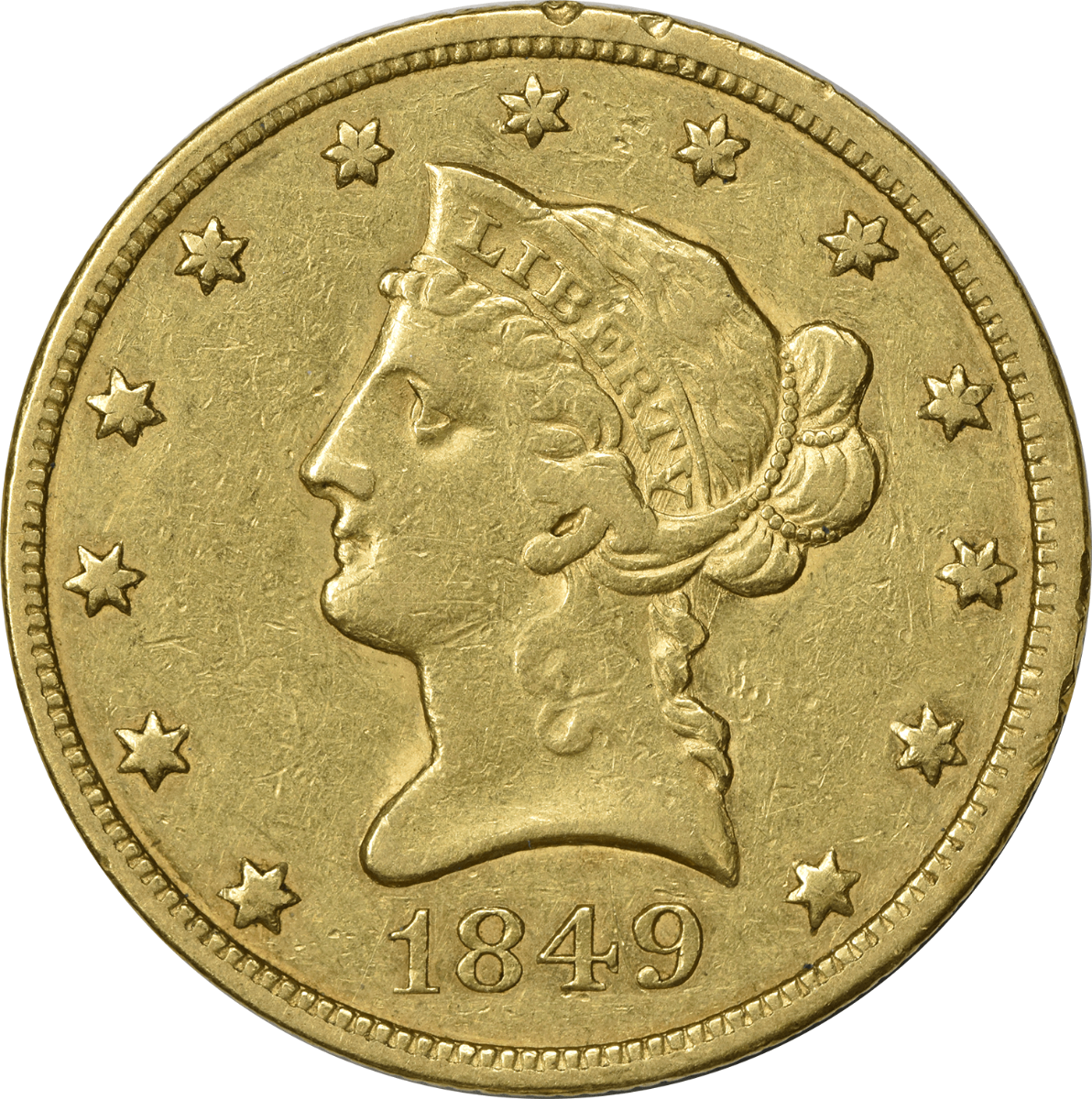 1849 $10 Gold Liberty Head EF Uncertified