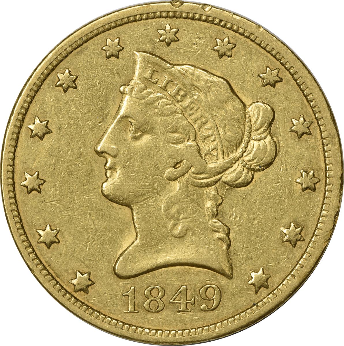 1849 $10 Gold, EF, Uncertified, Liberty