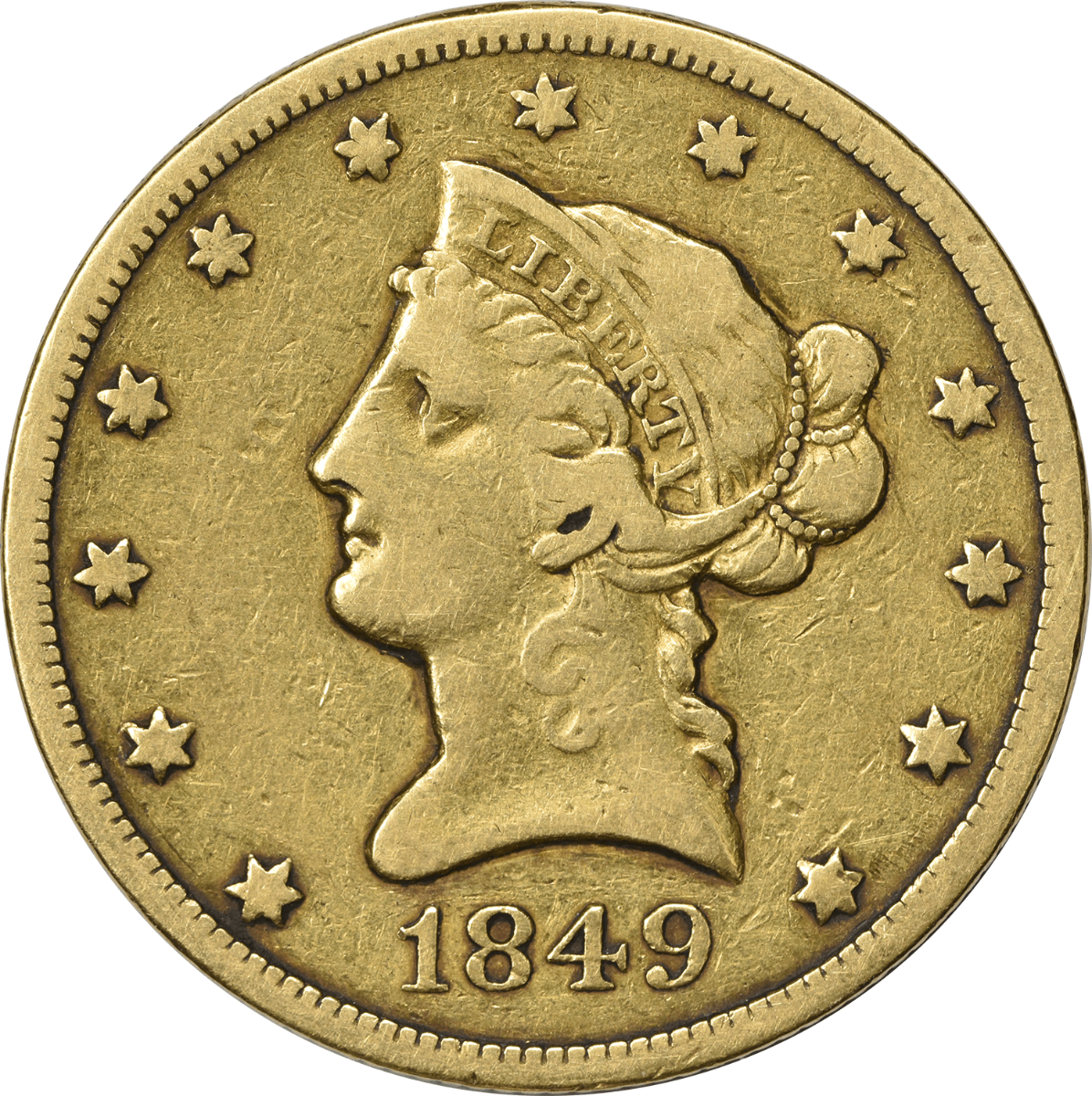 1849 $10 Gold, VF, Uncertified, Liberty