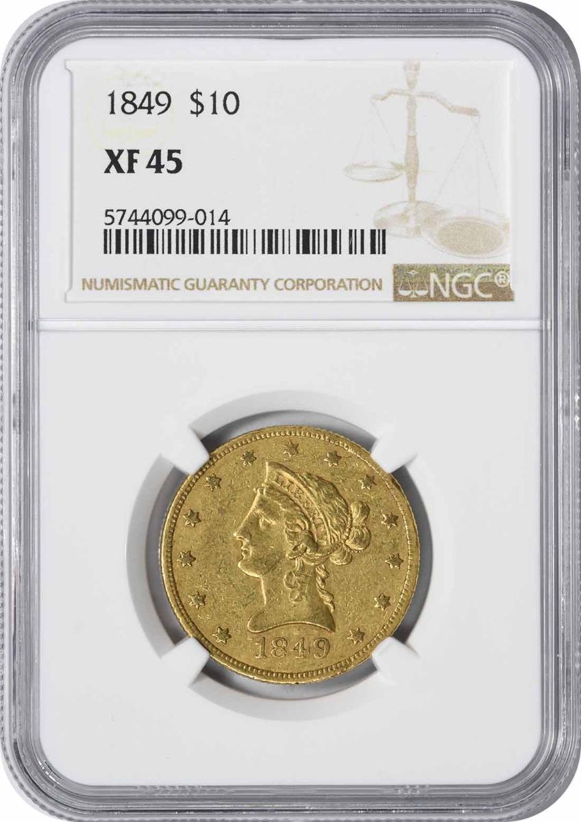 1849 $10 Gold Liberty Head EF45 NGC