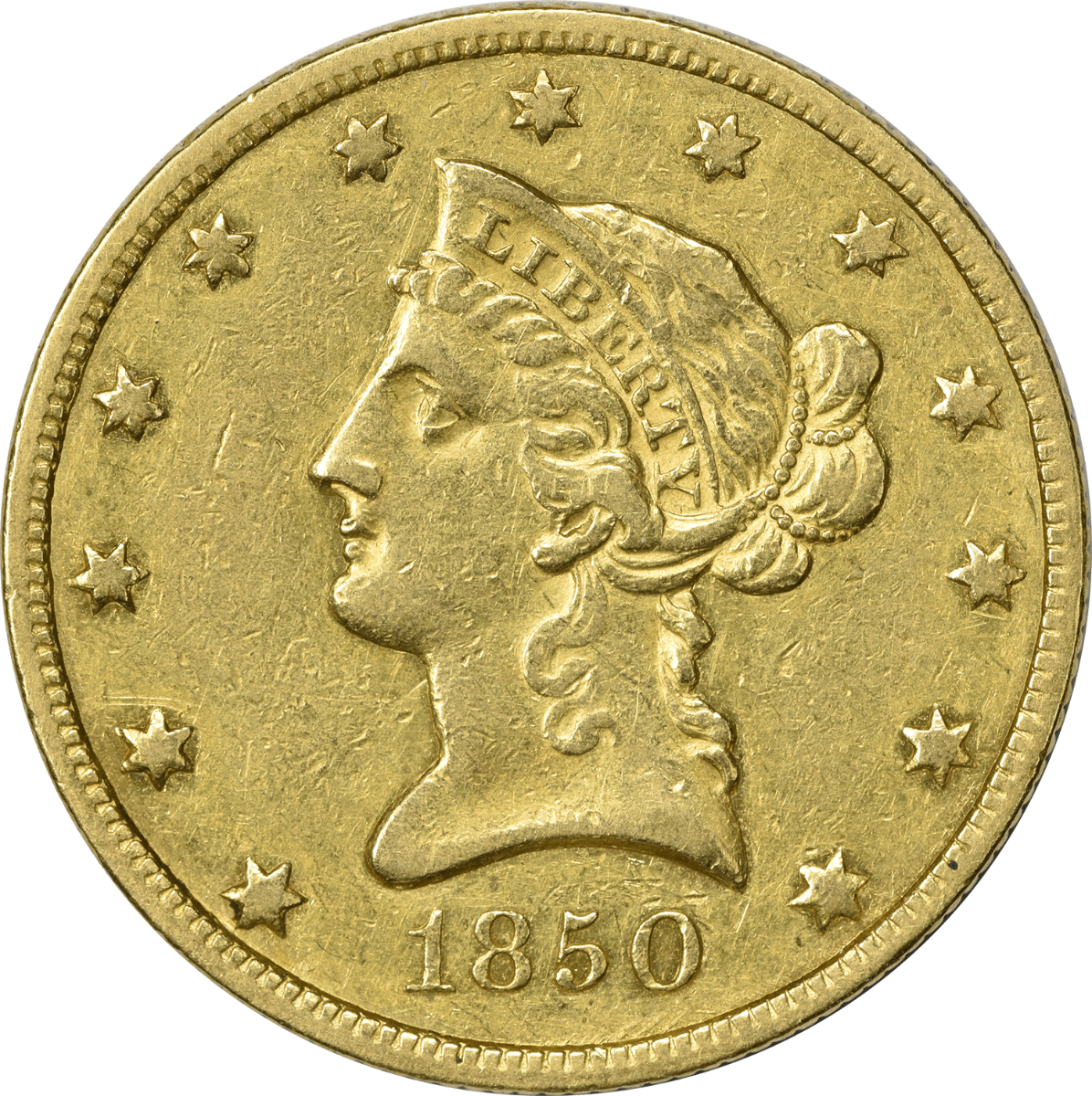 1850 $10 Gold, Small Date, EF, Uncertified, Liberty