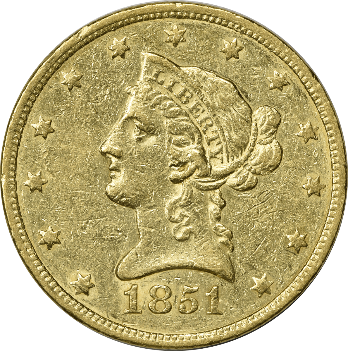 1851 $10 Gold Liberty Head EF Uncertified