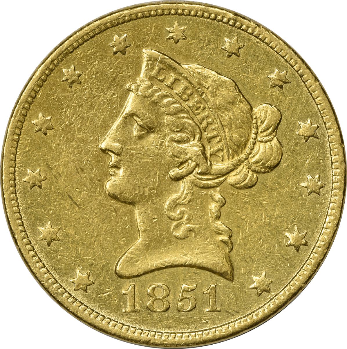 1851-O $10 Gold, Choice AU, Uncertified, Liberty