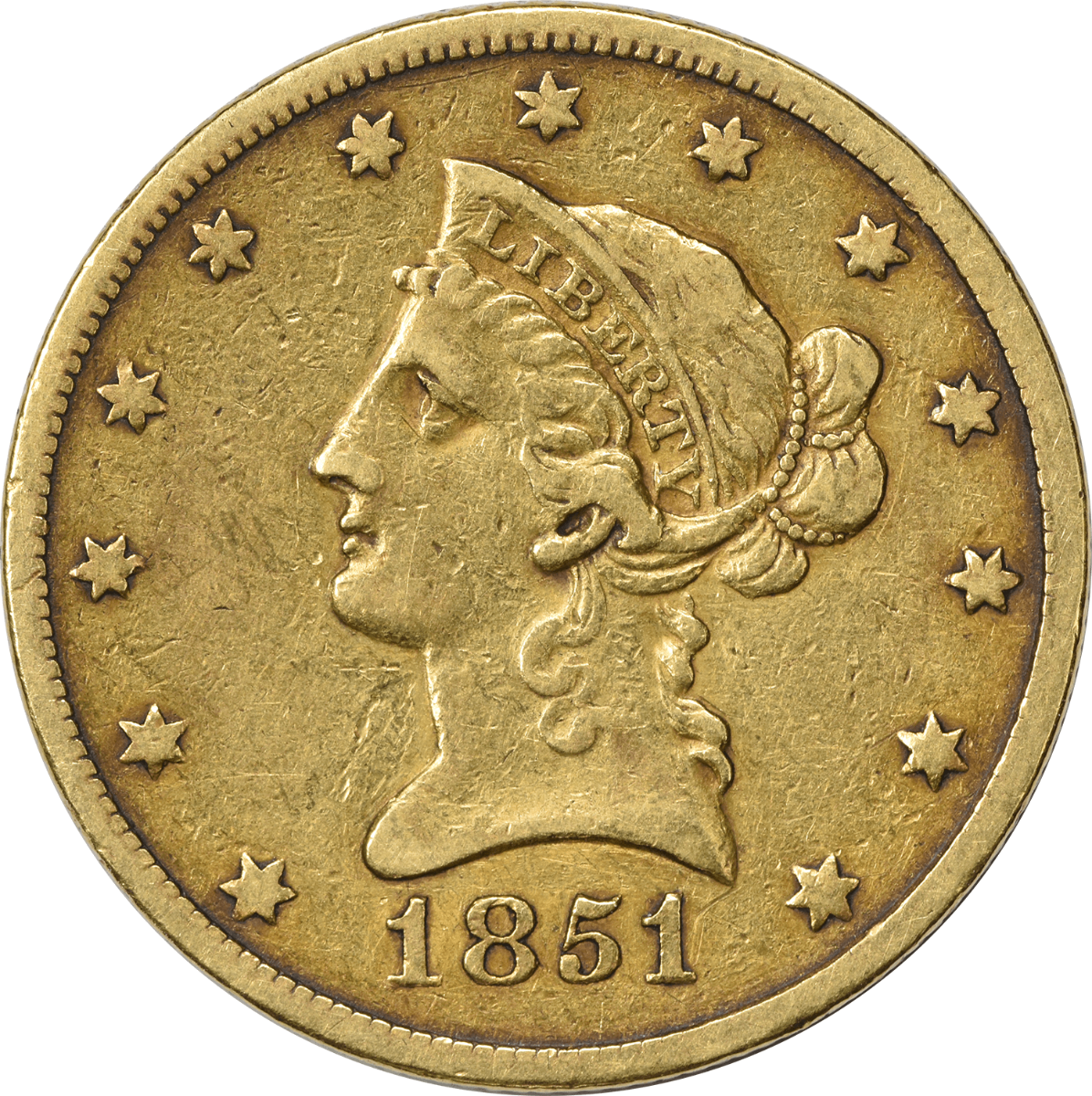 1851-O $10 Gold, EF, Uncertified, Liberty