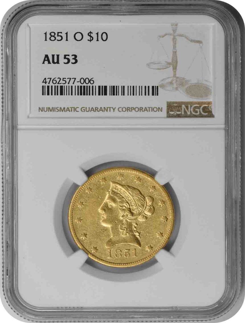 1851-O $10 Gold Liberty AU53 NGC