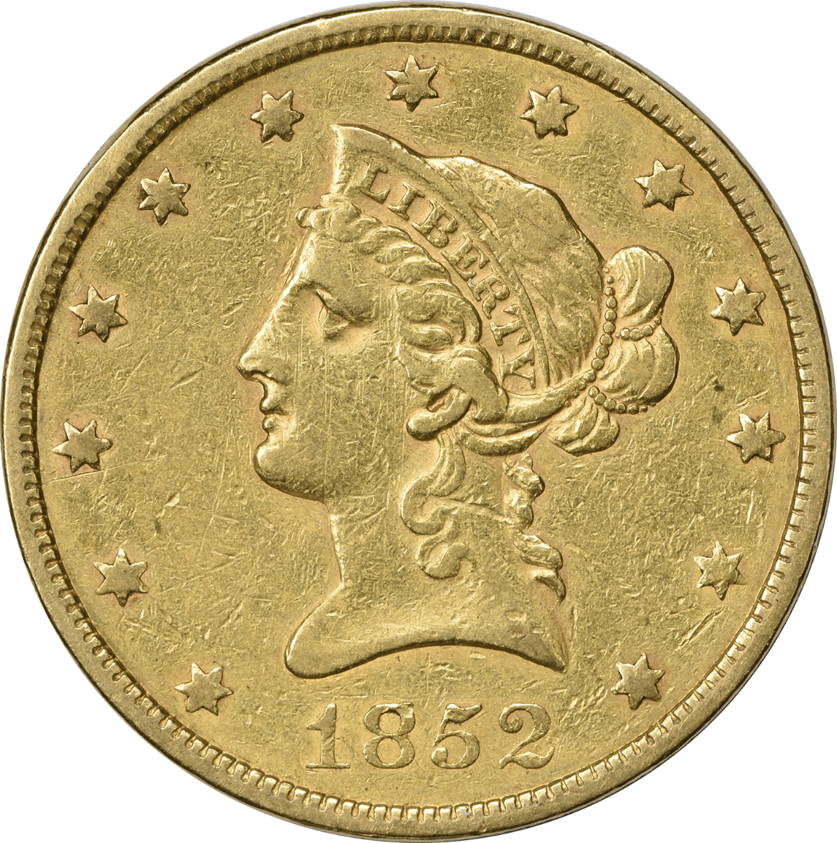 1852 $10 Gold Liberty Head EF Uncertified