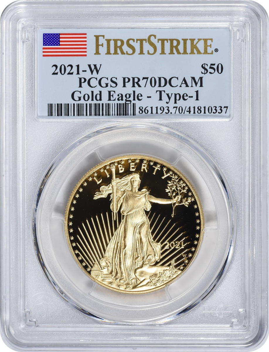 2021-W $50 American Proof Gold Eagle Type 1 PR70DCAM First Strike PCGS