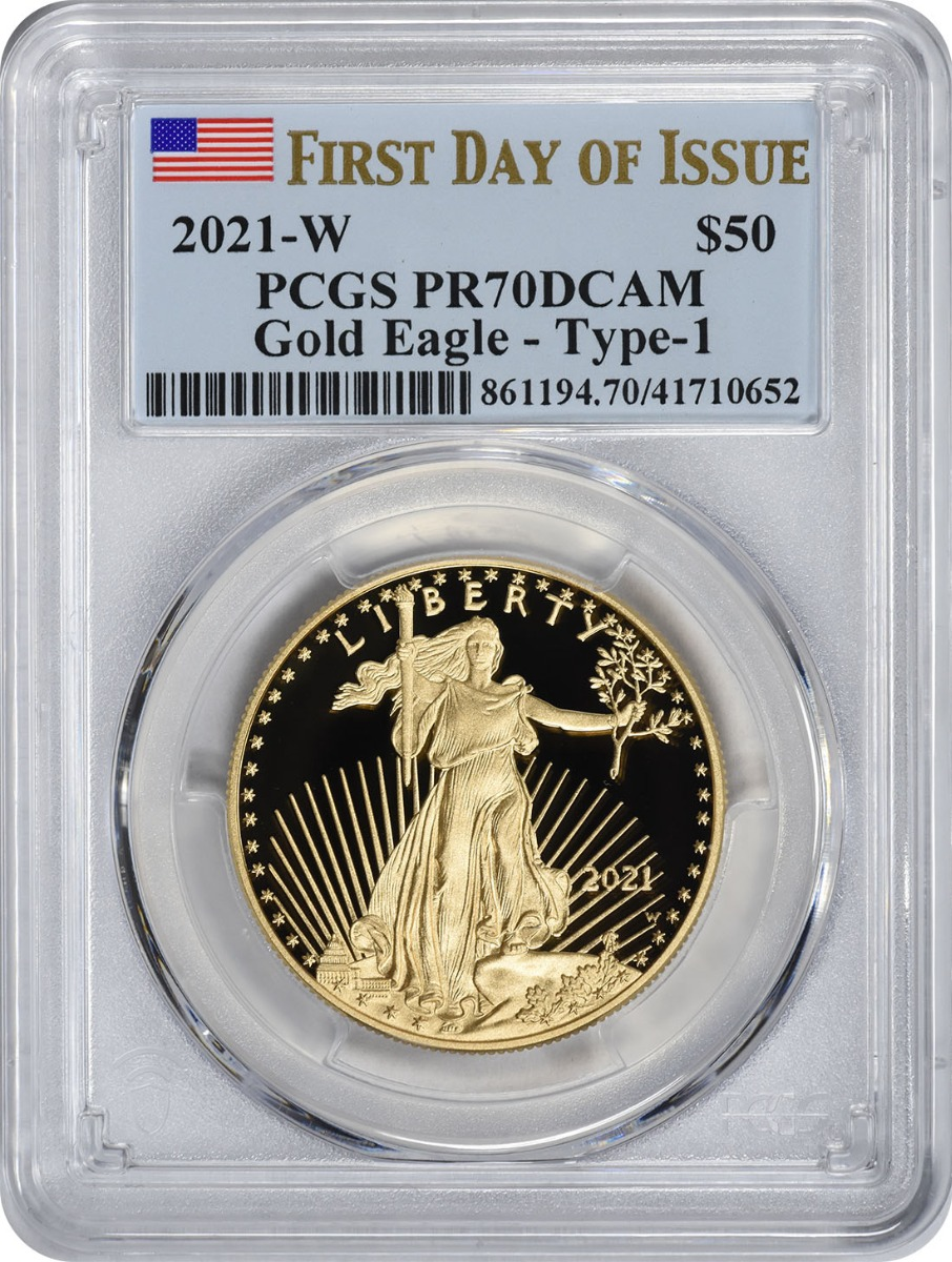 2021-W $50 American Proof Gold Eagle Type 1 PR70DCAM First Day of Issue PCGS