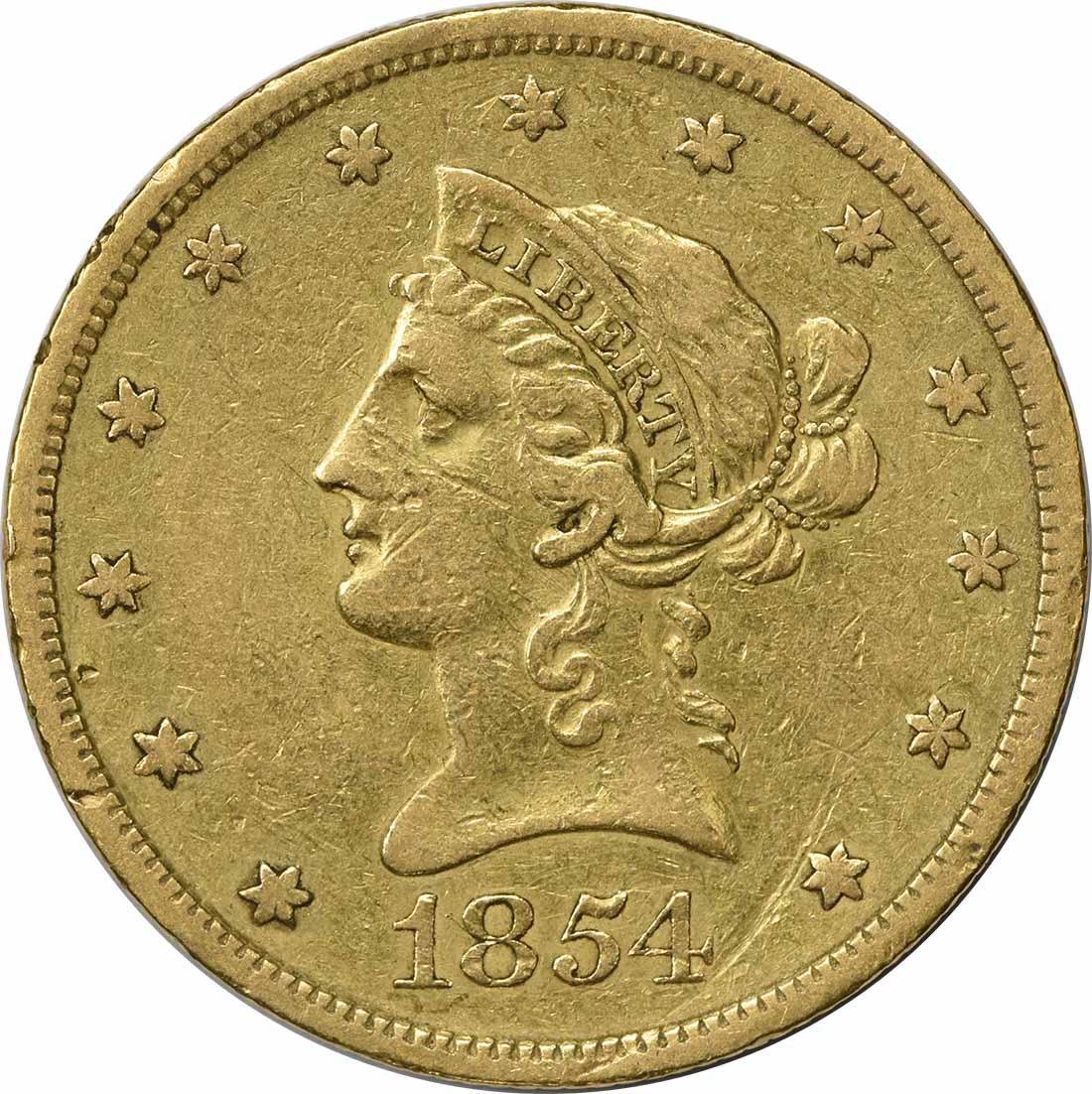 1854-S $10 Gold Liberty Head EF Uncertified
