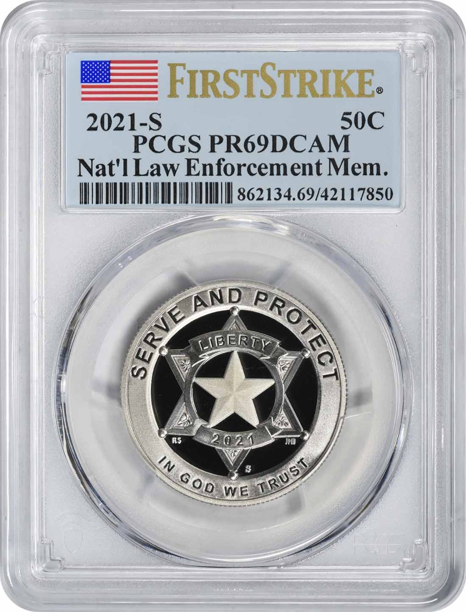 2021-S National Law Enforcement Memorial and Museum Commemorative Clad Half Dollar PR69DCAM First Strike PCGS