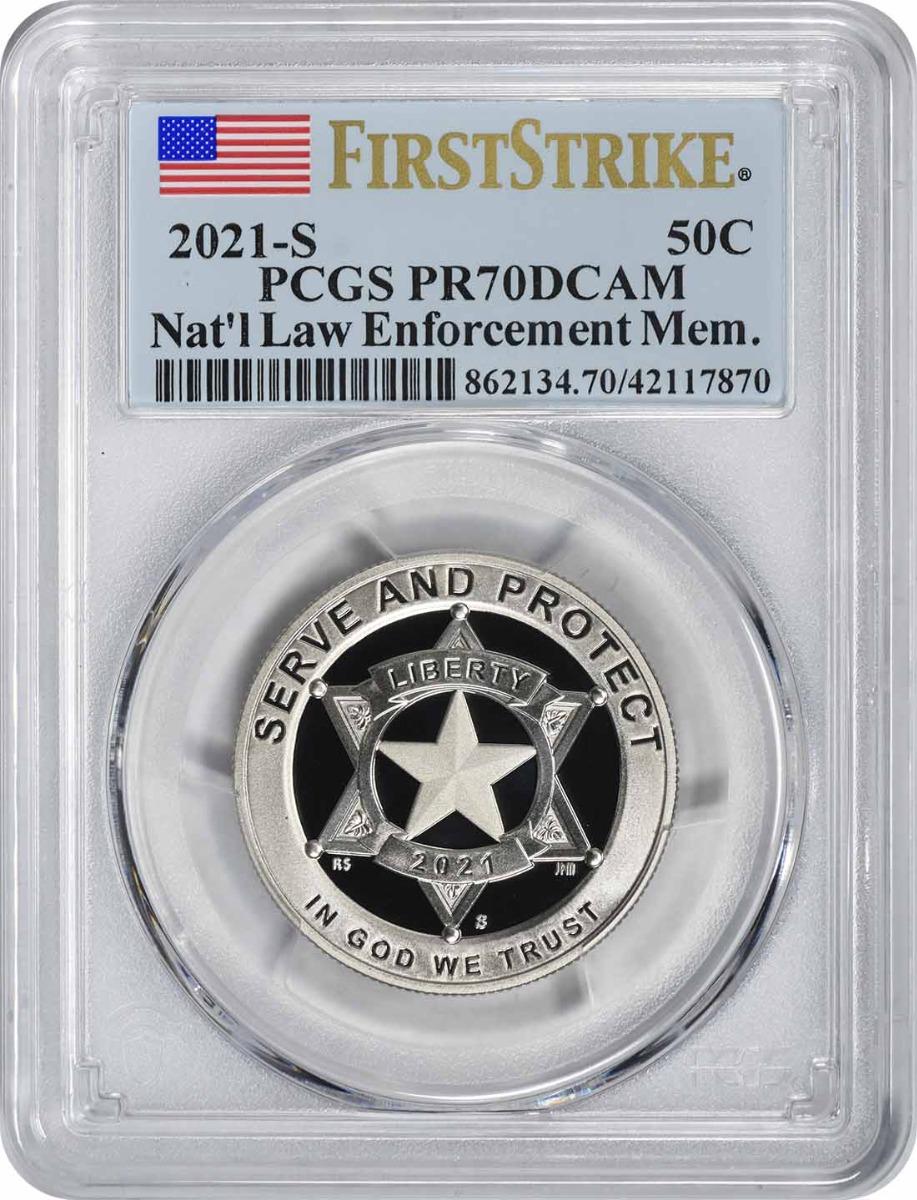 2021-S National Law Enforcement Memorial and Museum Commemorative Clad Half Dollar PR70DCAM First Strike PCGS