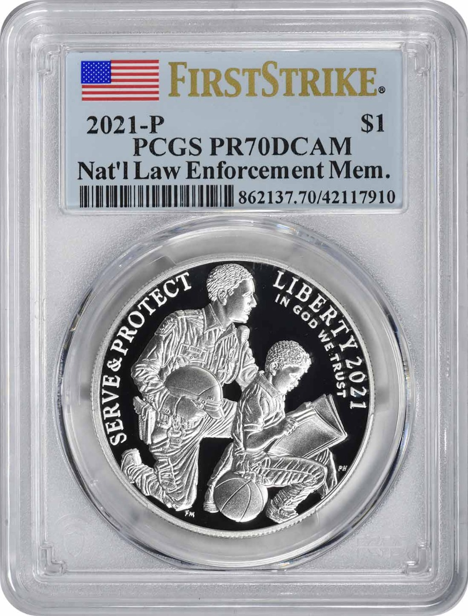 2021-P National Law Enforcement Memorial and Museum Commemorative Silver Dollar PR70DCAM First Strike PCGS