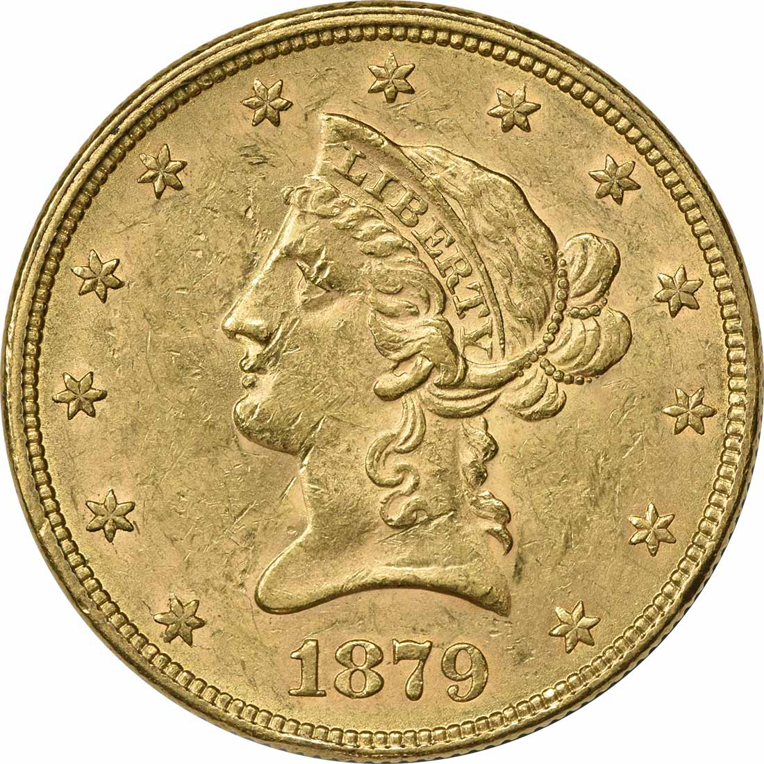 1879 $10 Gold Liberty Head AU58 Uncertified