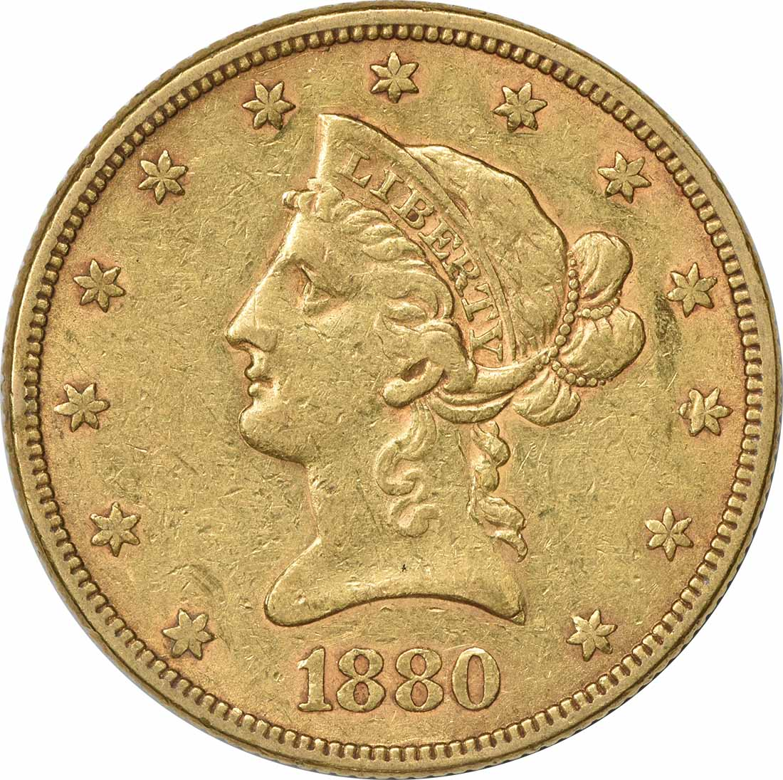 1880 $10 Gold Liberty Head EF Uncertified