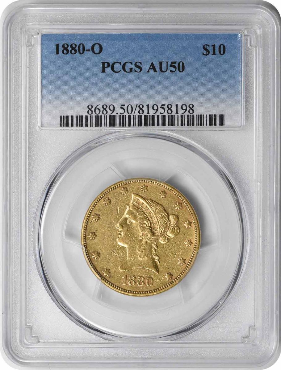 1880-O $10 Gold Liberty Head AU50 PCGS
