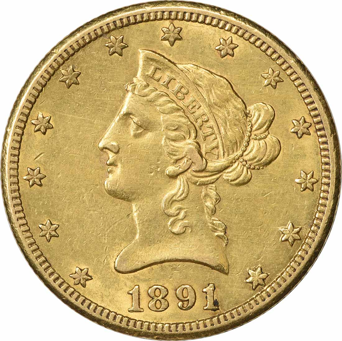 1891-CC $10 Gold Liberty Head AU Uncertified
