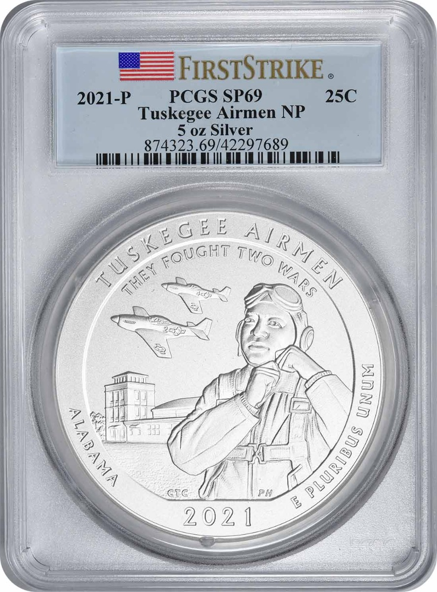 2021-P 5 oz Silver Tuskegee Airmen National Park America the Beautiful Quarter SP69 First Strike PCGS