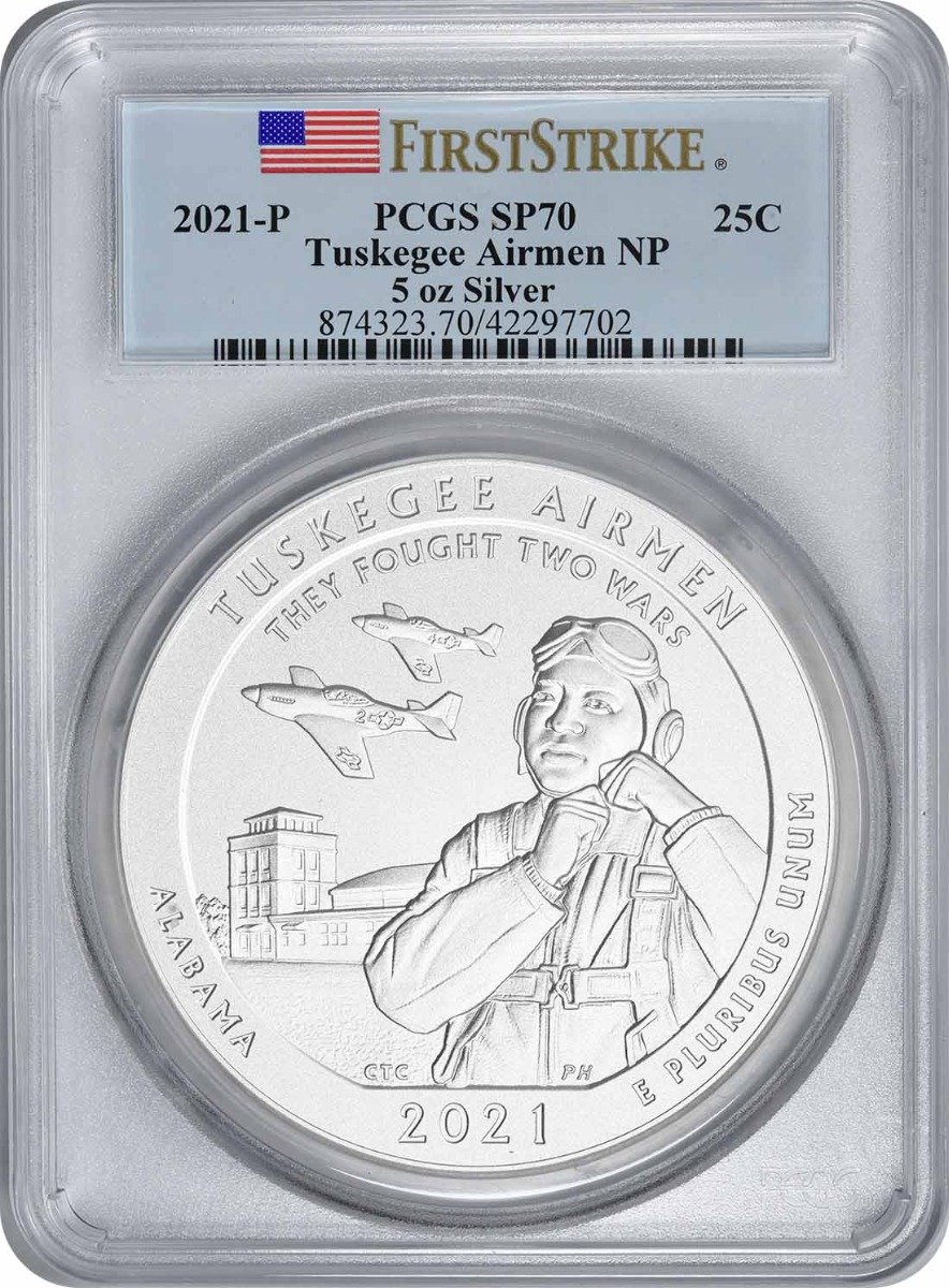 2021-P 5 oz Silver Tuskegee Airmen National Park America the Beautiful Quarter SP70 First Strike PCGS