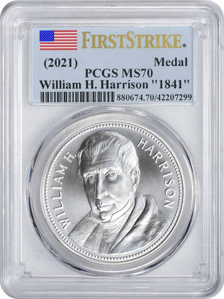 """(2021) William H. Harrison """"1841"""" Silver Medal MS70 First Strike PCGS"""