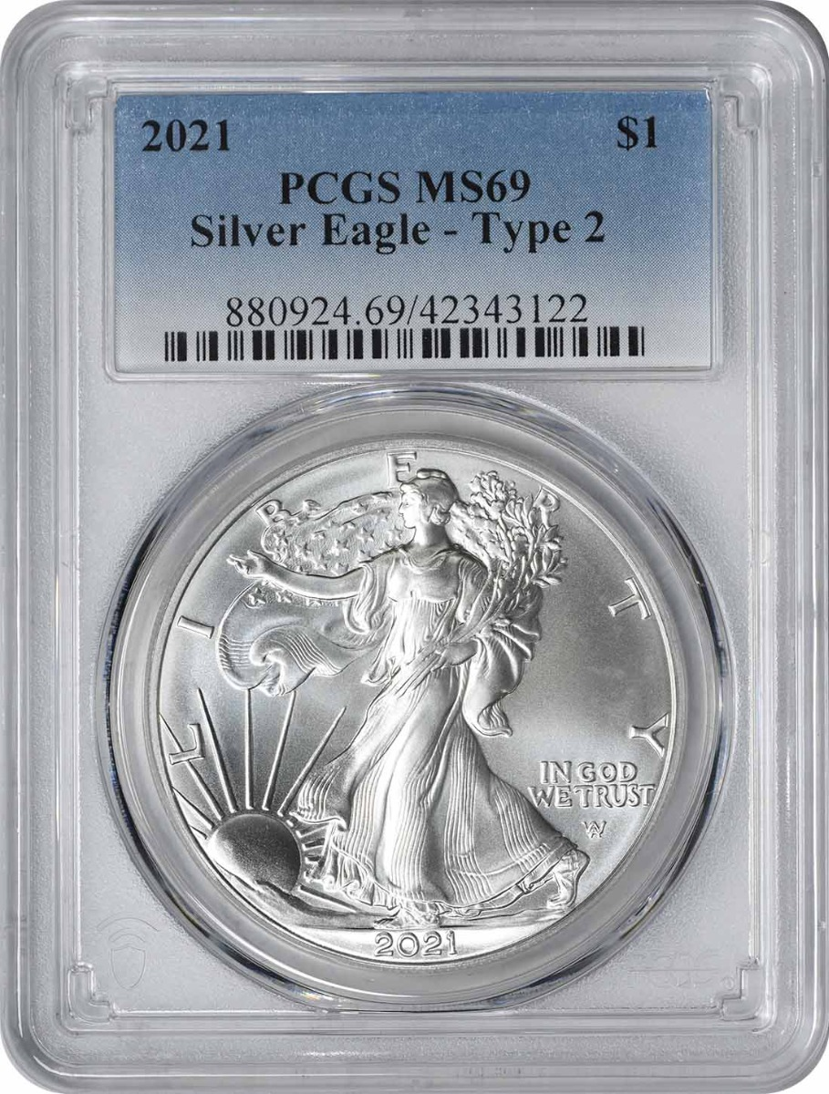 2021 $1 American Silver Eagle Type 2 MS69 PCGS