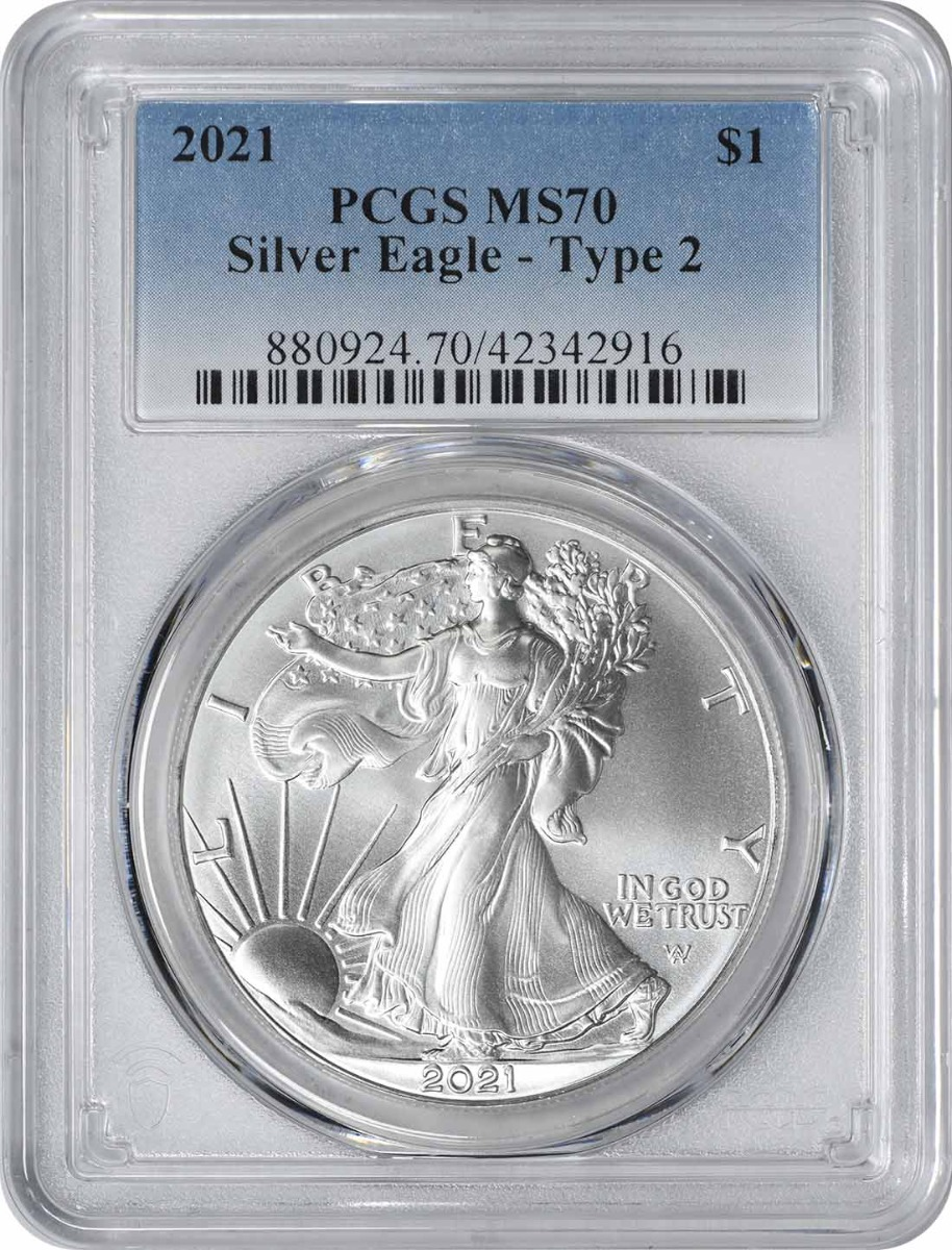 2021 $1 American Silver Eagle Type 2 MS70 PCGS