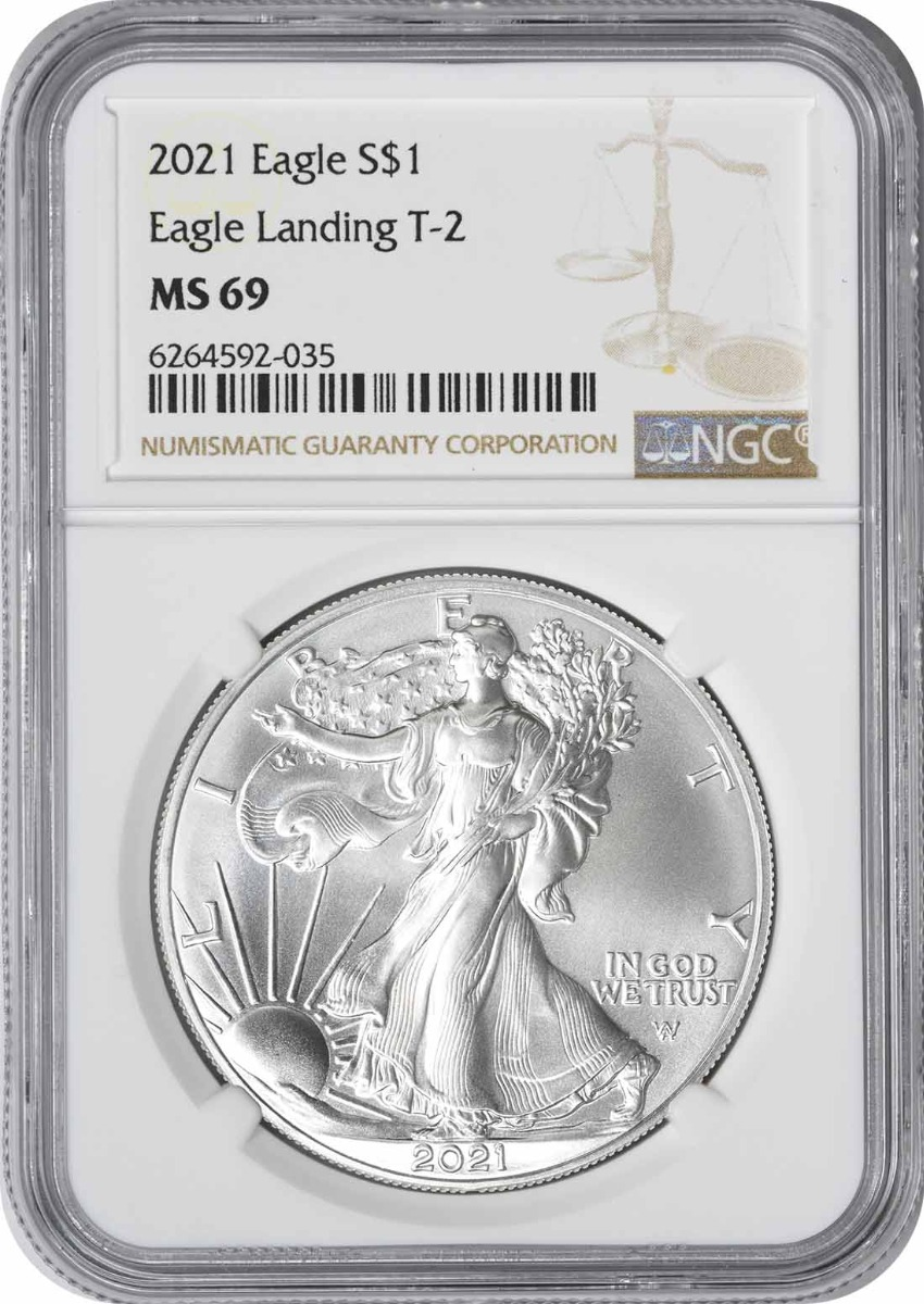 2021 $1 American Silver Eagle Type 2 MS69 NGC
