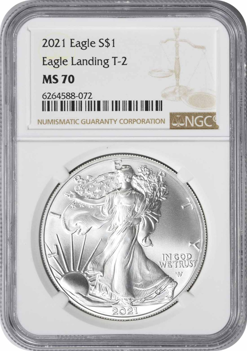 2021 $1 American Silver Eagle Type 2 MS70 NGC